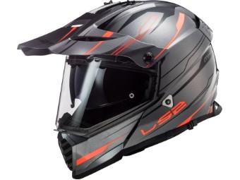 Helm LS2 MX436 Pioneer Evo Knight Titanium Fluo Orange