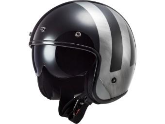 LS2 OF601 Bob Lines Black Jeans Open Face Helm Jethelm Motorradhelm