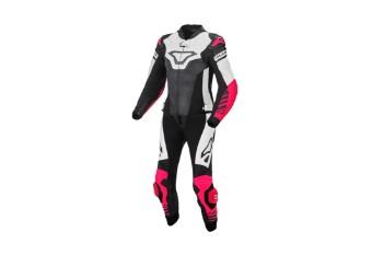Lederkombi Macna Tracktix 2PC Lady Zweiteiler schwarz weiß pink