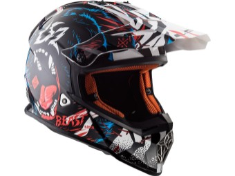 Crosshelm LS2 MX 437 Fast Beast schwarz weiß rot
