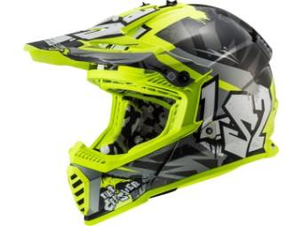 Crosshelm LS2 MX 437 Fast Mini Evo Crusher neongelb schwarz