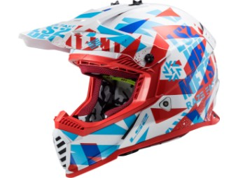Crosshelm LS2 MX 437 Fast Mini Evo Funky rot weiß