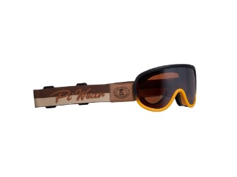 Motorradbrille Piwear Arizona Schutzbrille Band Braun, Glas Braun Verspiegelt, orange braun matt