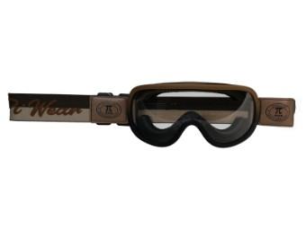 Motorradbrille Piwear Arizona Schutzbrille Band Braun, Glas Klar, braun matt