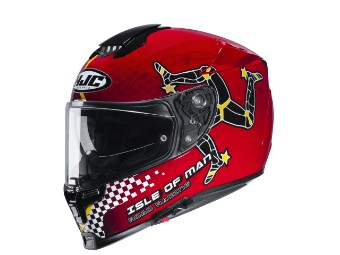 Motorradhelm HJC RPHA 70 Isle of Man MC1 schwarz rot
