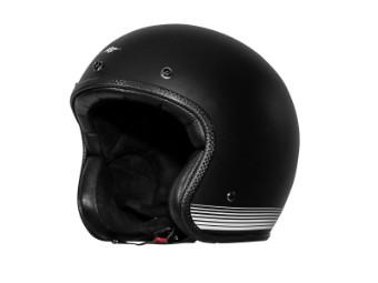 Fonzie Matt Black White Open Face Helm Jethelm Motorradhelm