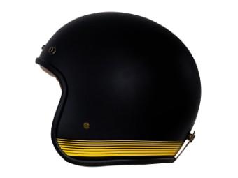 Fonzie Matt Black Yellow Open Face Helm Jethelm Motorradhelm