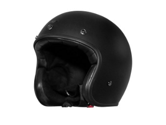 Fonzie Solid Matt Black Open Face Helm Jethelm Motorradhelm