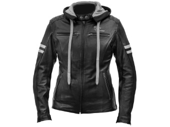 Lederjacke Rusty Stitches Super Joyce Hooded Lady schwarz weiß