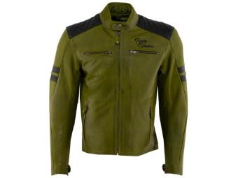 Lederjacke Rusty Stitches Jari Jacket Green Black