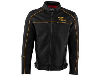 Lederjacke Rusty Stitches Chase Black Gold