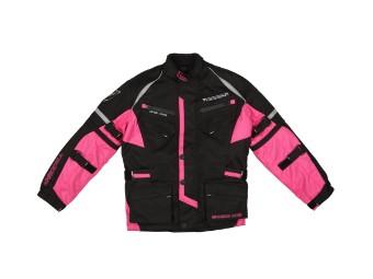 Kinder Motorradjacke Modeka Tourex II Kids schwarz pink