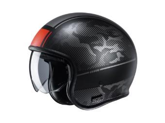 V30 Alpi MC1SF schwarz rot matt Open Face Helm Jethelm Motorradhelm