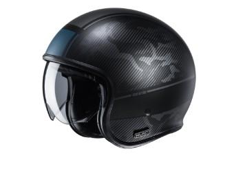 V30 Alpi MC5SF schwarz grau matt Open Face Helm Jethelm Motorradhelm