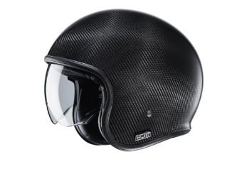 V30 Carbon Solid schwarz Open Face Helm Jethelm Motorradhelm Carbonhelm