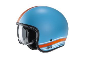 V30 Senti MC27SF blau orange matt Open Face Helm Jethelm Motorradhelm