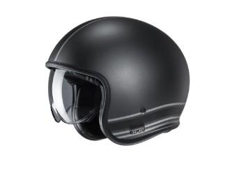 V30 Senti MC5SF schwarz grau matt Open Face Helm Jethelm Motorradhelm