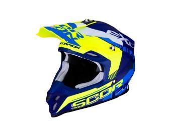 Crosshelm Scorpion VX 16 Air Ernee Mat blau gelb weiß matt MX Motocross