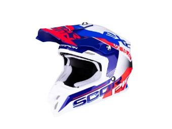 Crosshelm Scorpion VX 16 Air Arhus weiß blau rot MX Motocross