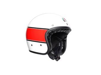 Legends X70 Mino 73 weiß rot Open Face Helm Jethelm Motorradhelm