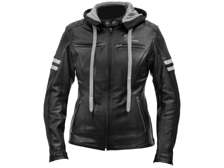 Rusty-Stitches_Joyce-hooded-black-white-FRONT_Motorradjacke