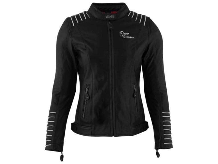 RustyStitches-68318-104-Amanda-Motorrad-Lederjacke black white 1