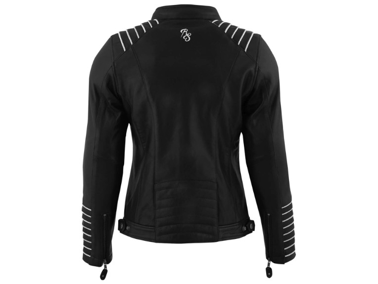 RustyStitches-68318-104-Amanda-Motorrad-Lederjacke black white 2