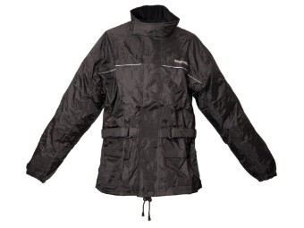 Regenjacke mit Taillen-Weitenverstellung, Schwarz