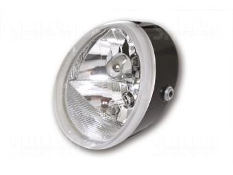 Universal Scheinwerfer OVAL mit Standlicht, schwarz,