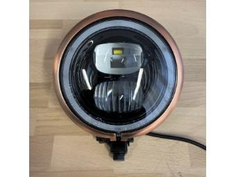 LED Motorrad Scheinwerfer e-geprüft 5 3/4 mit Kupferring
