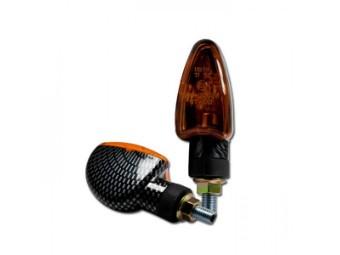 Mini-Blinker ARROW, carbonlook, kurz, gelbes Glas, E-geprüft, M8