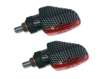 Mini-Blinker ARROW GROOVED, carbonlook, kurz