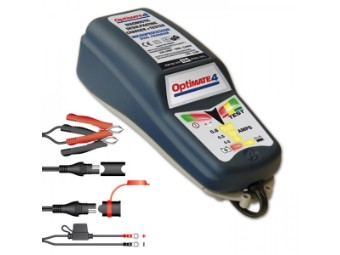 "Batterieladegerät OptiMate 4 Dual ""CAN-bus"", (SAE) mit Wandkonsole, geeignet für 3-50Ah"