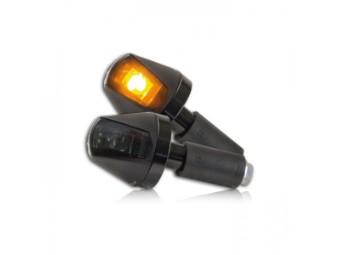 """ALU-Lenkerendenblinker """"KNIGHT"""", Hi-Power LED, schwarz, getönt"""