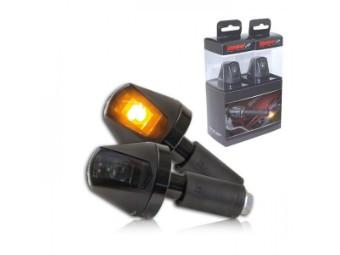 """ALU-Lenkerendenblinker """"KNIGHT"""", Hi-Power LED, Paar, schwarz, getönt, e-geprüft"""