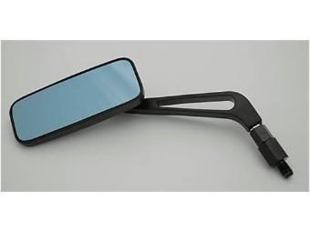 Aluspiegel, rechteckig, schwarz, blaues Glas, Paar