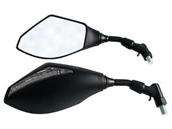 Spiegel mit LED Blinker, schwarz, E-gepr., Paar