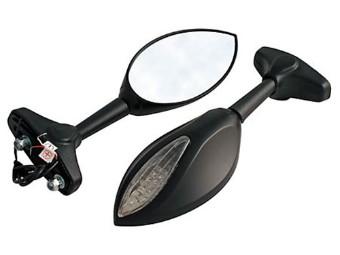 Verkleidungsspiegel mit LED Blinker, schwarz, Paar