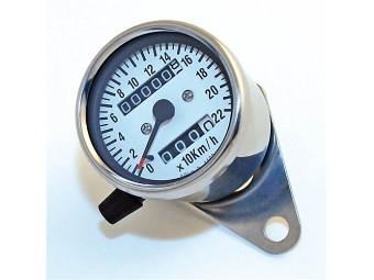 Tacho 60mm, weisses Ziffernblatt, bis220 km/h
