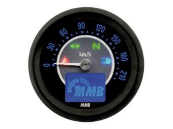 Elektronischer MMB Tachometer 48mm schwarz ideal für Harley oder Custom Umbauten