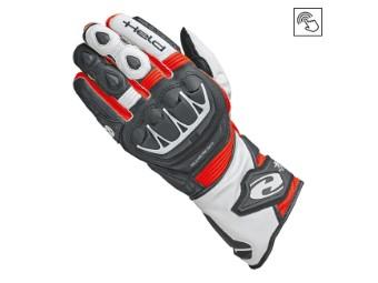 Sportliche Leder Motorrad Handschuhe EVO-Thrux II mit Aramid in schwarz/rot
