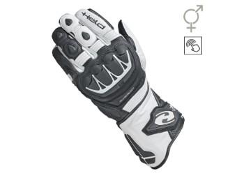 Sportliche Leder Motorrad Handschuhe EVO-Thrux II mit Aramid in schwarz/weiß