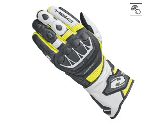 Sportliche Leder Motorrad Handschuhe EVO-Thrux II mit Aramid in schwarz/gelb