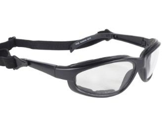 Sportliche Motorrad Biker Sonnenbrille Freedom klare Gläser mit Kopfband