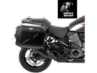 Hepco&Becker Kofferset schwarz inklusive Trägern CUTOUT passend für Harley Davidson Pan America