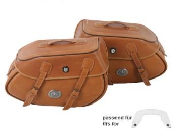 Satteltaschensatz BUFFALO sandbraun Leder 17l. abschließbar für C-Bow Träger