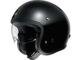 J.O schwarzer Motorrad Jethelm