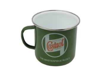 Vintage Castrol Kaffeetasse emailliert