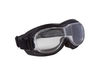 Biker Motorradbrille mit klaren Gläsern für Brillenträger passend