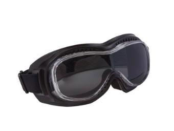 Biker Motorradbrille mit dunkel getönten Gläsern für Brillenträger geeignet